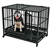 42 Heavy Duty Dog Iron Cage Crate Kennel Metal Pet Playpen Portable with Tray Heavy Duty Steel Frame Strong Durable Pet Product