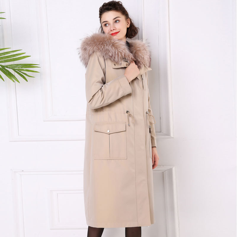 Rabbit Natural Fur Liner Parka Real Fur Coat Winter Jacket Women Raccoon Fur Collar Korean Long Jackets Warm Overcoat MY S