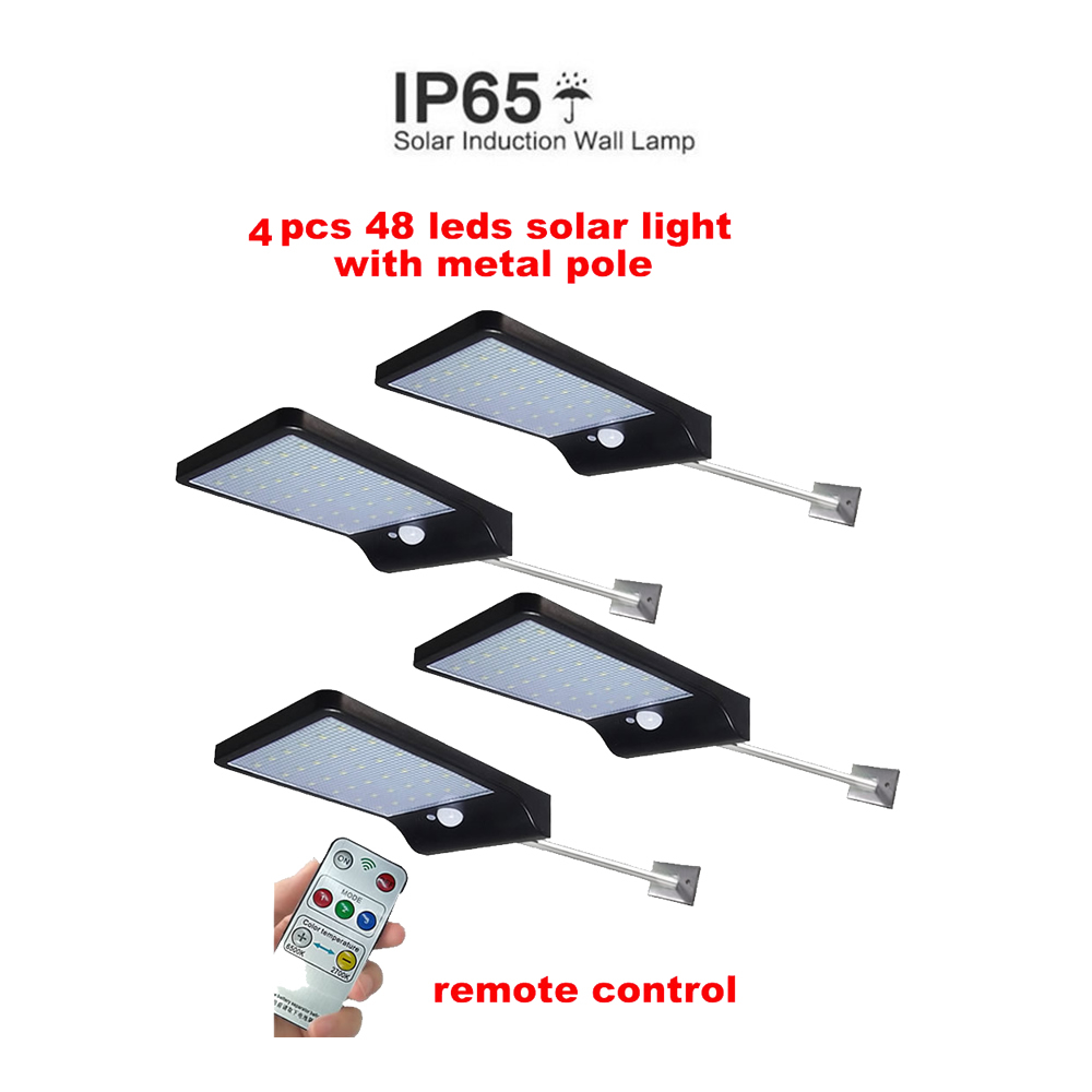 2/4pcs Solar-Powered 48 LEDs Solar Light Waterproof Remote Control LED Garden Solar Lamp 5 Mode Body Induction Wall Light Securi