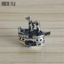 Pirate Ship Charms Beads Silver 925 Original Fit Bracelet Jewelry Vintage Bead for Making Pendants