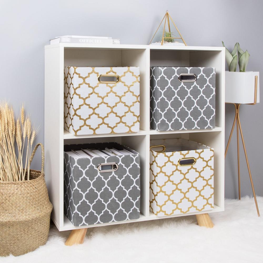 New Cube Folding Storage Box Clothes Storage Bins For Toys Organizers Baskets For Nursery Office Closet Shelf Container 2 Size