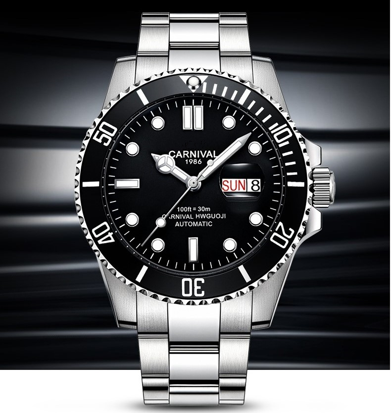 natação relógio automático masculino calendário luminoso relógios mecânicos reloj hombre
