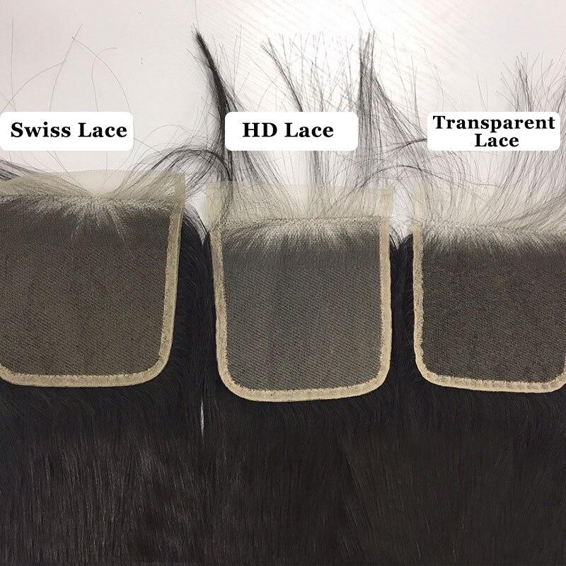 Ali Queen 4x4/5x5 fermeture de dentelle transparente pré plumée avec des cheveux de bébé 10 ~ 20 pouces brésilien vague de corps vierge fermeture de cheveux humains - 2