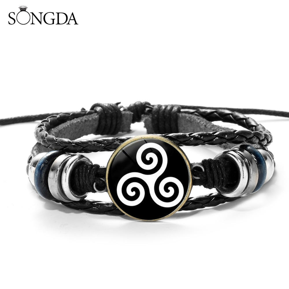 SONGDA Fashion Teen Wolf Icon Bracelet Triskele Triskelion Allison Argent Glass Cabochon Mens Casual Wristband Movies Jewelry image