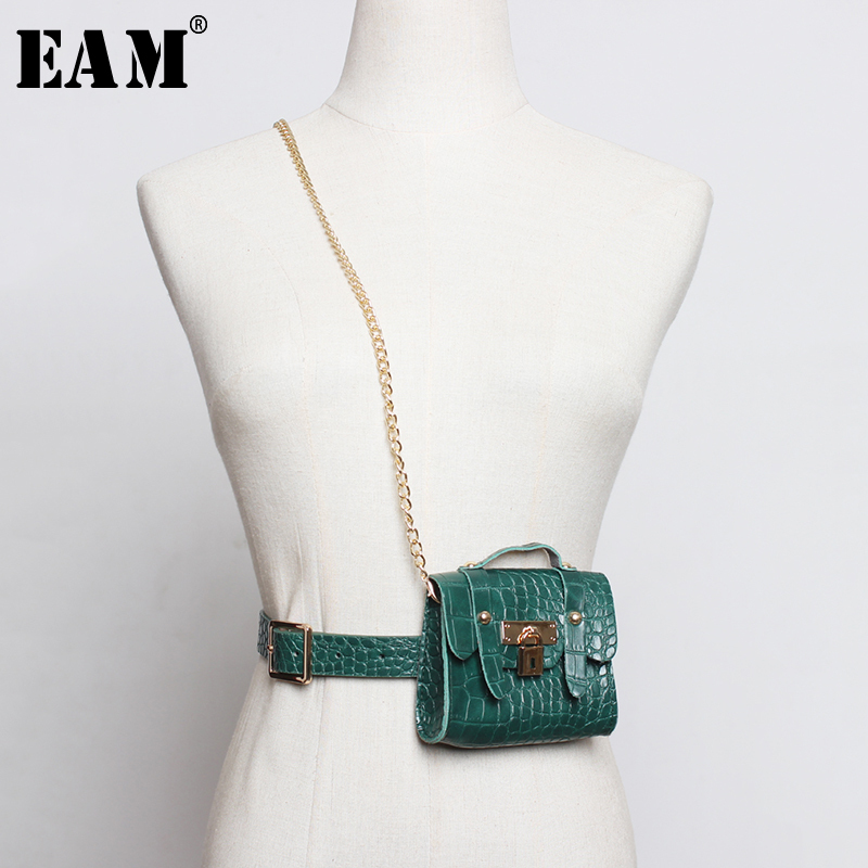 [EAM]  Pu Leather Multicolor Mini-bag Chain Split Long Belt Personality Women New Fashion Tide All-match Spring 2020 1N456