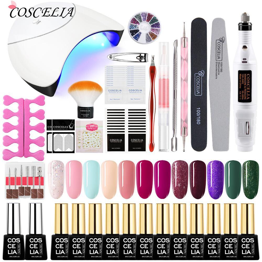 Nail Set UV LED Lamp Dryer With Nail Gel Polish Kit Soak Off Manicure Tools Set Gel Nail Polish Kit For Nail Art Tools