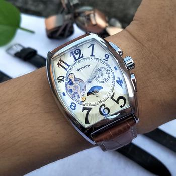 Luksusowe męskie zegarki zegarki mechaniczne dla mężczyzn skrzyni ładunkowej Dial automatyczne zegarki mechaniczne męskie Tourbillon zegarki montre homme reloj tanie i dobre opinie WOONUN 3Bar CN (pochodzenie) Sprzączka Moda casual Samoczynny naciąg 26cminch STAINLESS STEEL Odporna na wstrząsy Faza księżyca