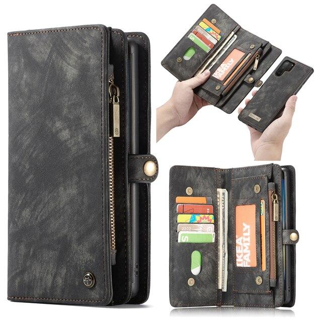 Voor Galaxy Note 10 Case Premium Koeienhuid Lederen Rits Afneembare Magnetische Wallet Cover Case voor Samsung Galaxy Note 10 Plus a50