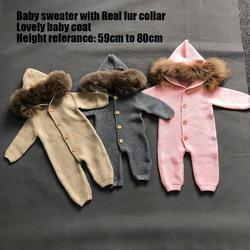 Детский свитер с меховым воротником, милый меховой джемпер для малышей, детский меховой комбинезон