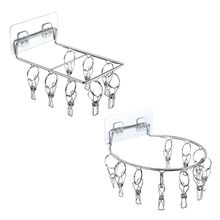 Wall Mount Stainless Steel Clothes Pin Hanger Storage Organizer Laundry Drying Rack with 8/10 Clips for Hat Sock Underwear Glove