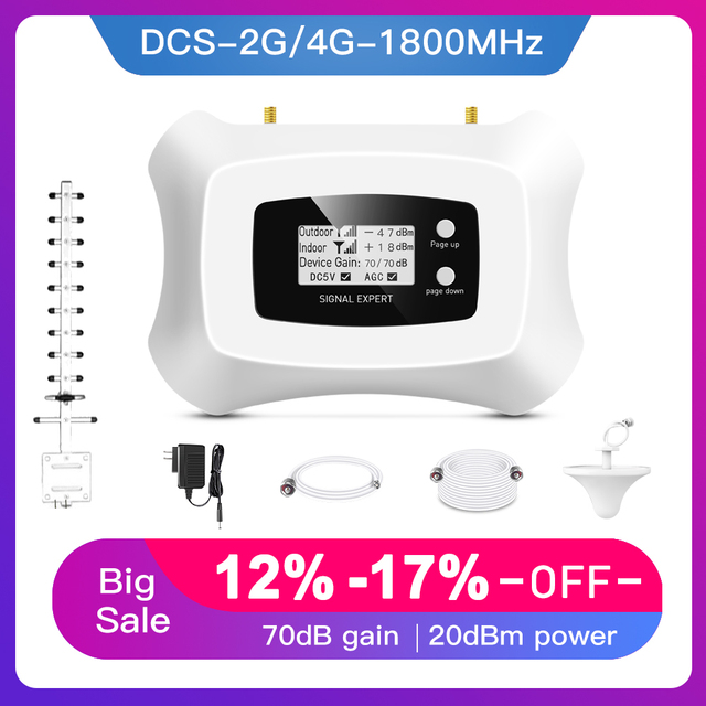 Homely and Fashionable signal Repeater 2G 4G Cell phone Amplifier LCD DCS 1800MHz Mobile Signal Booster with Yagi antenna kit