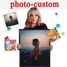 Personalización de foto DIY 5D pintura de diamante completo redondo/Cuentas cuadradas resina diamante bordado imágenes punto de cruz arte Manual regalo hogar