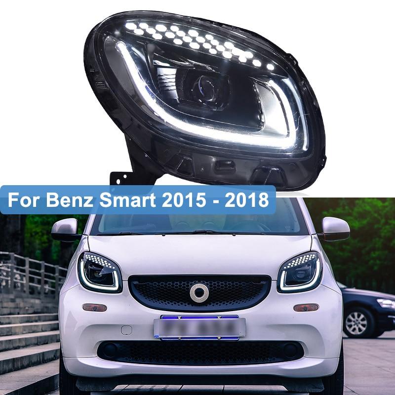 Car Styling 2pcs For Benz Smart 2015 2016 2017 2018 headlights All LED light bar Q5 bi LED lens LED Bulb projector