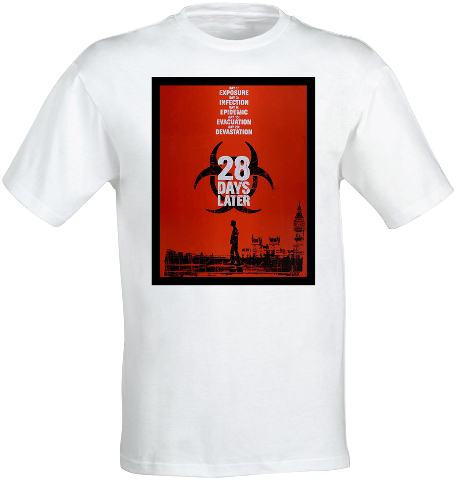 <font><b>28</b></font> <font><b>Days</b></font> <font><b>Later</b></font> Zombie Movie Poster Artwork Men (Woman'S Available) T Shirt White Tops New Unisex Funny Tee Shirt image