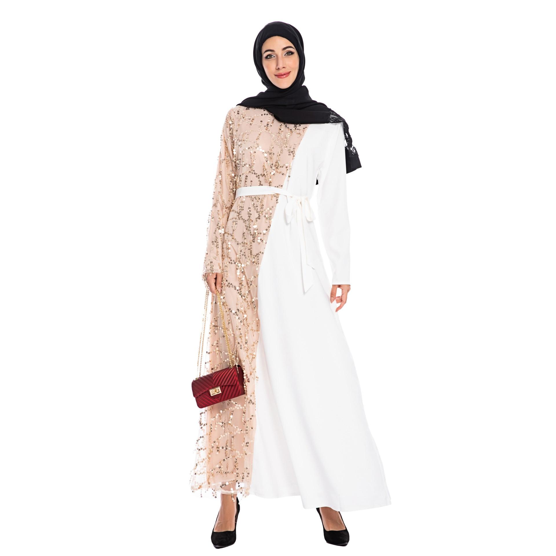 Elegant Sequins Maxi Dress Muslim Abaya Cardigan Party Kimono Long Robe Gowns Jubah Middle East Eid Ramadan Arab Islamic Prayer