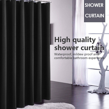 Shower Curtain Waterproof Fabric Bathroom Curtain Hanging Hook Pure Black Large Wide Bathing Cover Polyester Curtains