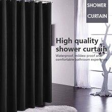 Duş perdesi su geçirmez kumaş banyo perdesi kanca asılı saf siyah geniş geniş banyo kapak Polyester perdeler