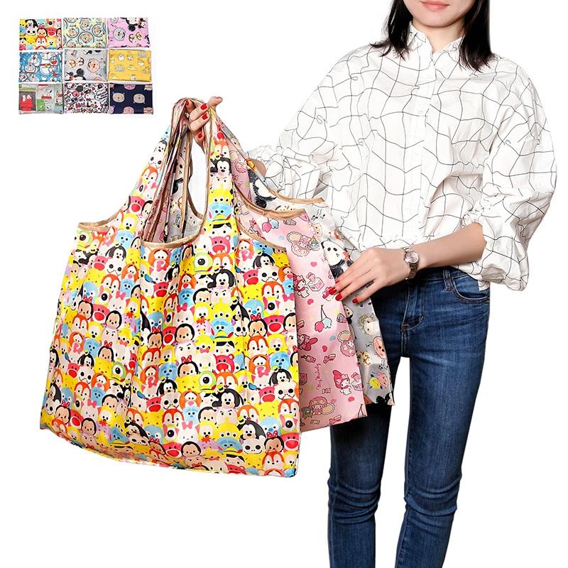 만화 동물 재사용 접는 쇼핑 가방 식료품 파우치 대형 에코 휴대용 숄더 핸드백 폴리 에스터 여행 토트