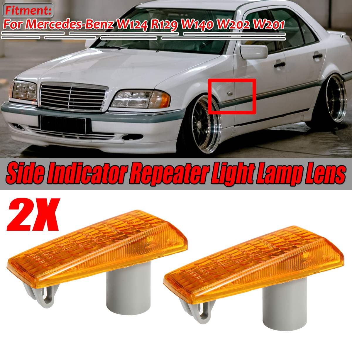 New 2PCS W124 Car Side Marker Light Indicator Repeater Light Lamp Lens Cover Shell For Mercedes ForBenz W124 R129 W140 W202 W201
