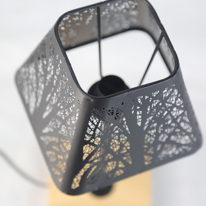 Image 4 - OYGROUP Wrought Iron Hollow Lamp Shade + Wood Base, E14 Table Lamp for Bedside Study Room Living Room No Bulb