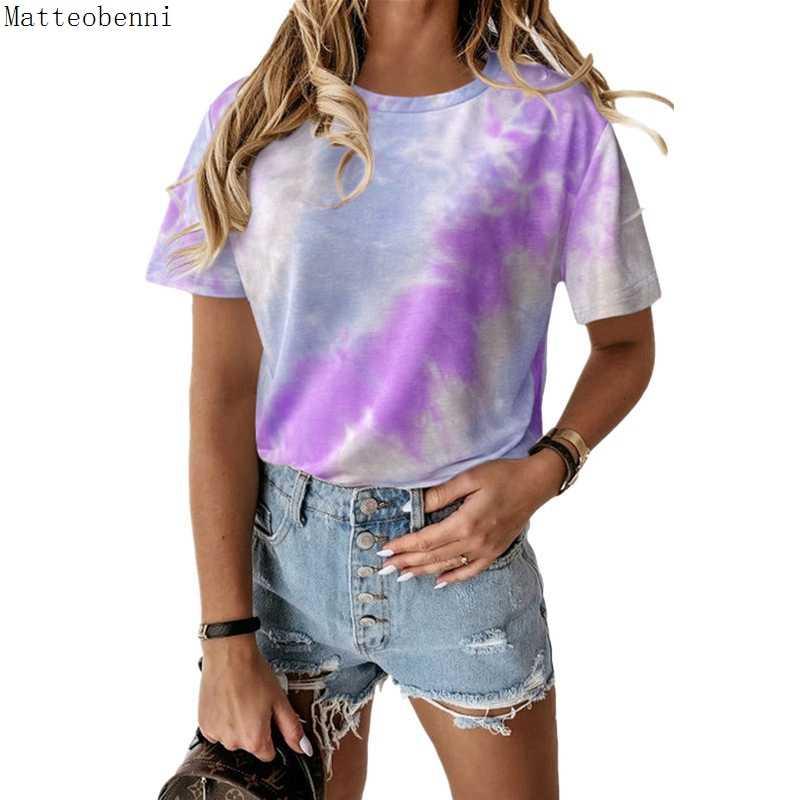 여름 새로운 타이 염료 인쇄 된 o-넥 반팔 t-셔츠 숙 녀 탑 2020 여자 패션 느슨한 캐주얼 티 셔츠 플러스 크기 S-5XL