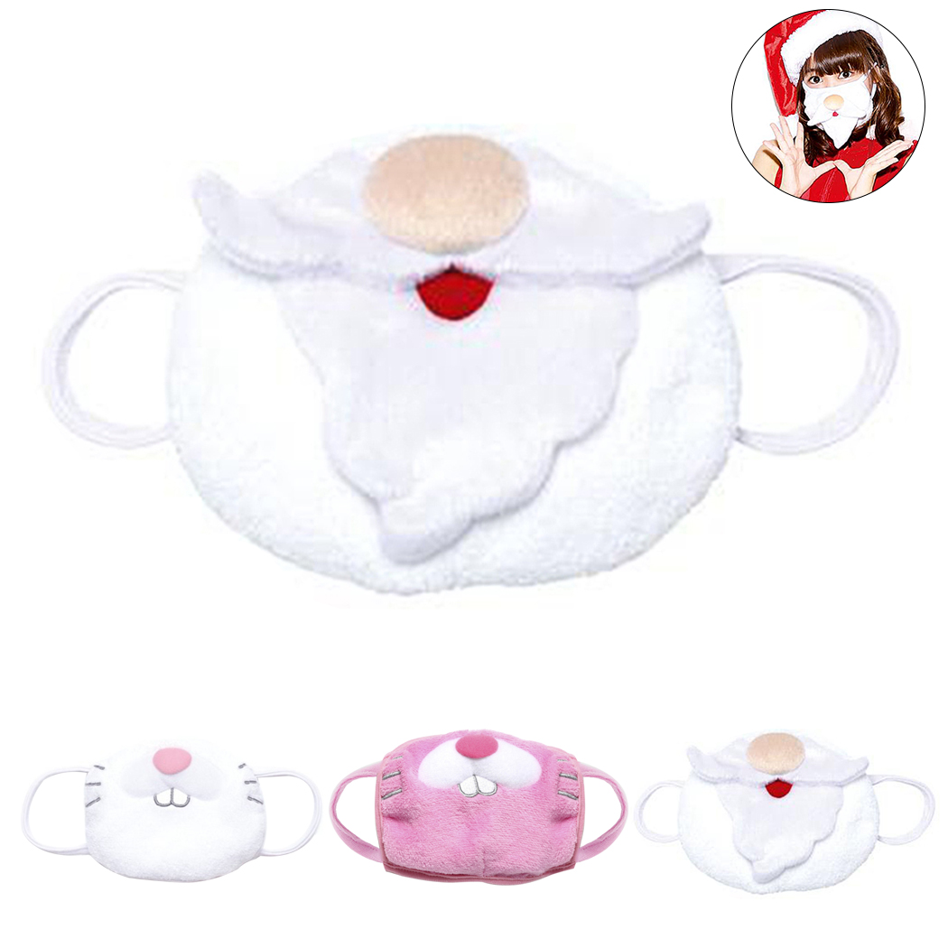 Women Christmas Mouth Mask Soft Winter Warm Cute Cartoon Rabbit Santa Muffle Face Mouth Masks Cotton Dustproof Mouth Face Mask