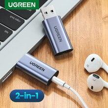 Ugreen placa de som 2-em-1 usb interface de áudio externo 3.5mm adaptador de áudio soundcard para computador portátil ps4 fone de ouvido usb placa de som