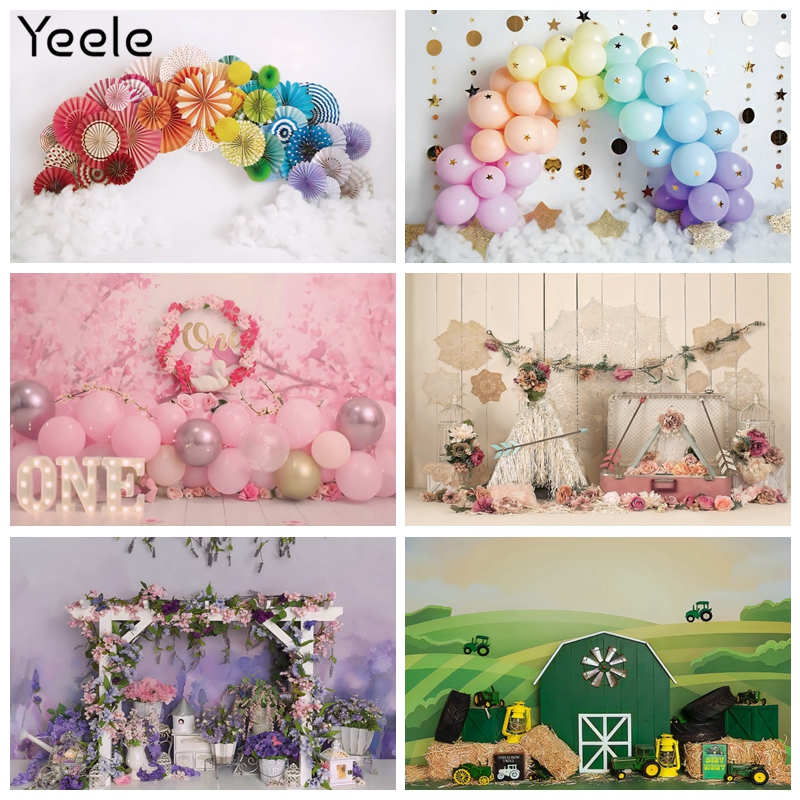 Yeele Photocall Balloon Birthday Backdrops Baby Shower Party Decor Photos For Photography Background  Photographic Studio Shoot