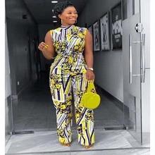 אופנה שרוולים Bodycon סרבל נשים אפריקאי בגדי הדפסה גבוהה מותן ארוך מכנסיים Rompers סרבל Playsuit החוף