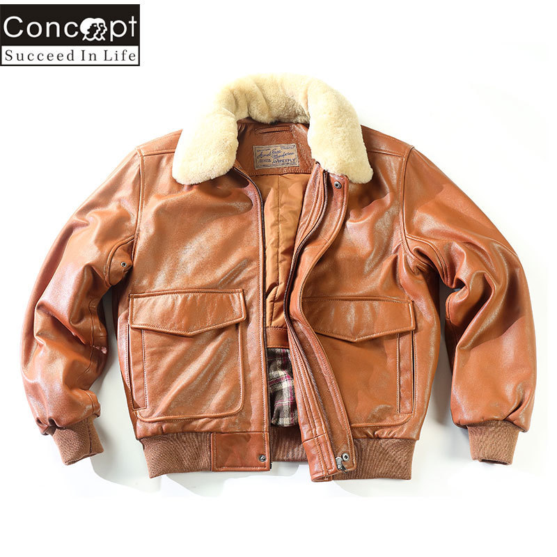 Fly Air Force Flight Fur Collar Genuine Leather Men G1 Winter Coat Bomber Motorcycle Biker Jacket