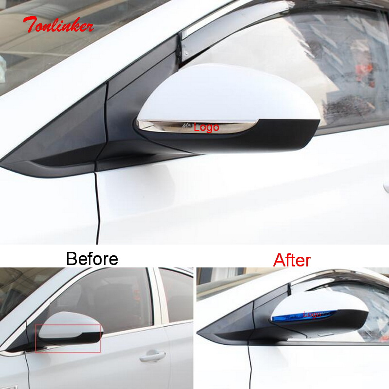 Tonlinker Exterior Rearview Mirror Cover Stickers For Hyundai Solaris 2016-19 Car Styling 2 PCS Stainless Steel Cover Stickers