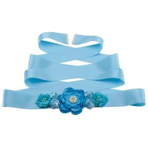 Kobiety brzoskwiniowy niebieski zielony kwiat szarfy Rhinestone zroszony pas dla nowożeńców wstążka Cummerbunds suknia ślubna pas biodrowy