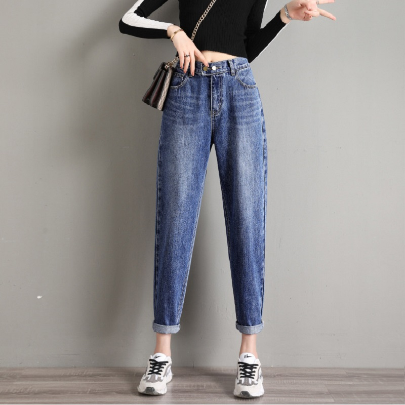 High Waist Woman Jeans Plus Size 100kg Thin Loose Capri Straight Harem Pants Baggy Mom Jeans Cargo Pants Women Fall 2020 Women