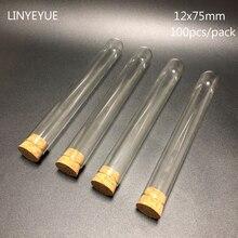 100 pièces/pack Tube à essai en verre à fond plat de laboratoire 12x75mm avec bouchon en liège verrerie de laboratoire