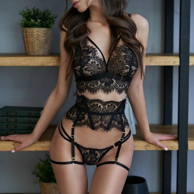 New Lace Sexy Lingerie Transparent Hot Porno Lace Erotic Underwear Sexy Bra Set And Garter Lingerie Sexy Hot Erotic Sleepwear 1