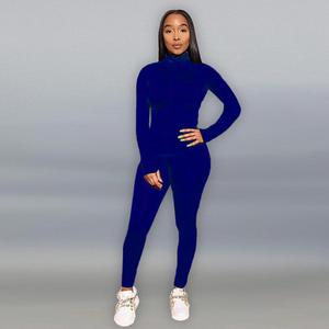 Image 2 - Casual Lente 2 Delige Set Vrouwen Joggen Femme Sportwear Zweetkostuums Vrouwen Crop Top + Lange Broek Outfits Solid 8 kleur