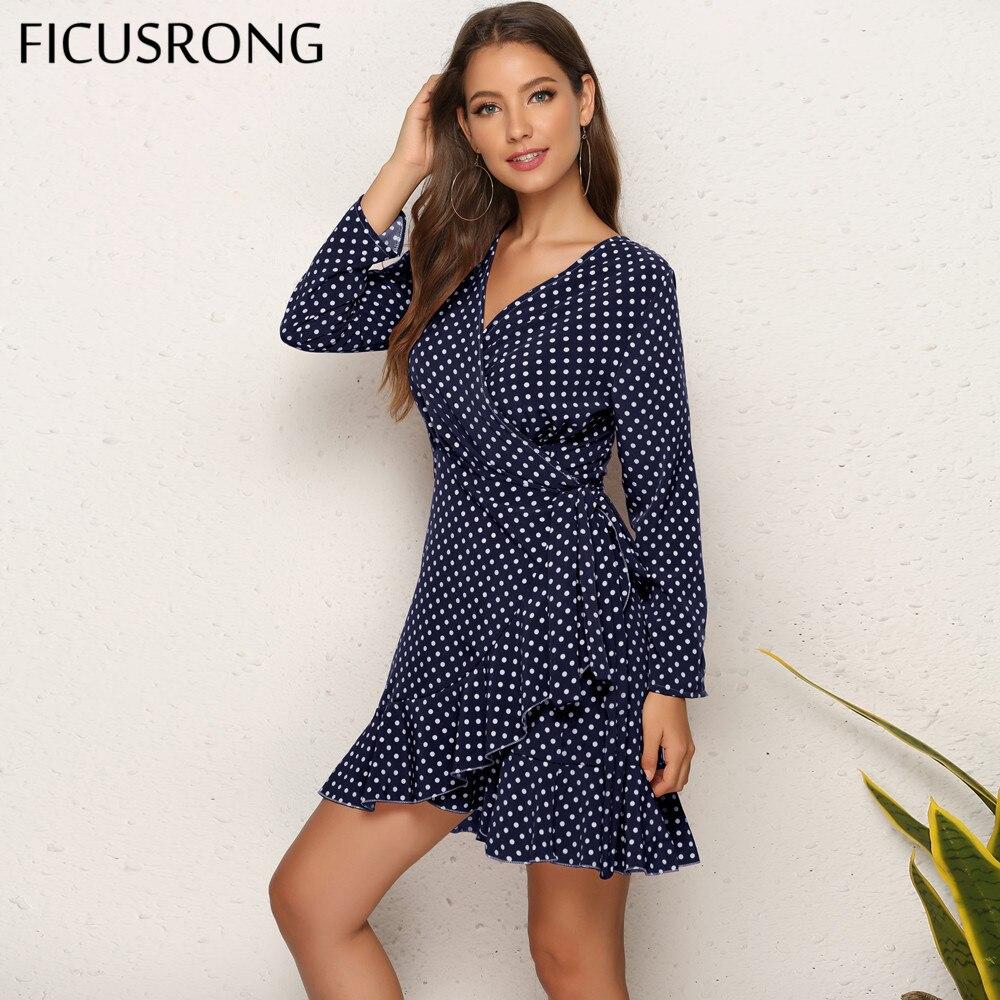 Polka Dot Ruffle Wrap Dress Women Full Sleeve Asymmetrical Dress Women Above Length Dresses Spring Slim V-Neck FICUSRONG