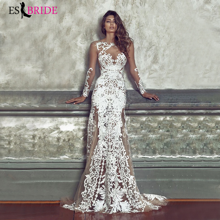 White Simple Special Occasion Dresses Fashion Lace Illusion Plus Size Evening Dress Formal Evening Gown Evening Dresses ES2627
