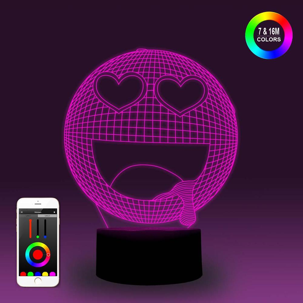 NiteApps 3D Laugh Face Night Light Desk Table Illusion Decoration Lamp Holiday Birthday Gift APP/Touch Control