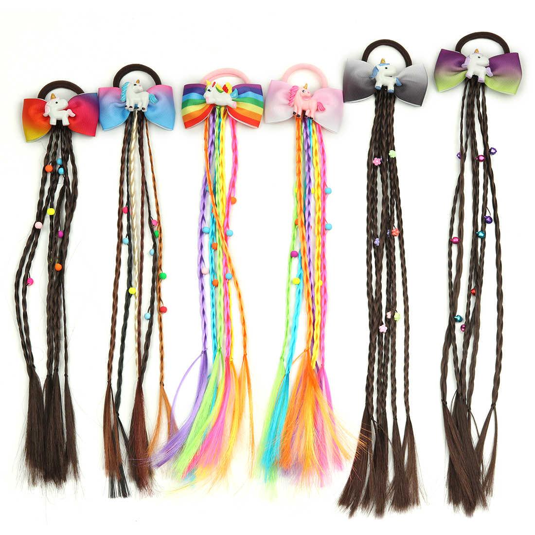 1 предмет, детская парик; резинка для волос, обтянутая тканью; полос Единорог радужные бантики дизайн для девочек косы волосы галстук витой «милое дитя», милая резинка ремешок