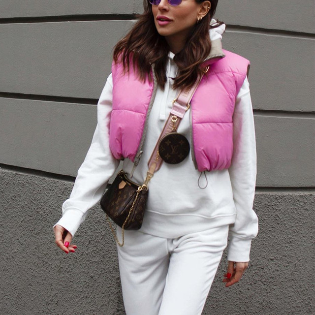PUWD Casual Woman Pink Light Short Puffer Vest 2021 Spring Fashion Ladies Warm Double-Side Outwear Female Streetwear Down Tank 5