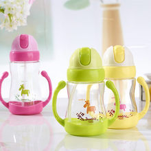 350ml Cartoon Infant Learning To Drink Cup Handle Strap Children Cups Straw Bouncing Kettle Feeding Forborn New Hvlv(China)