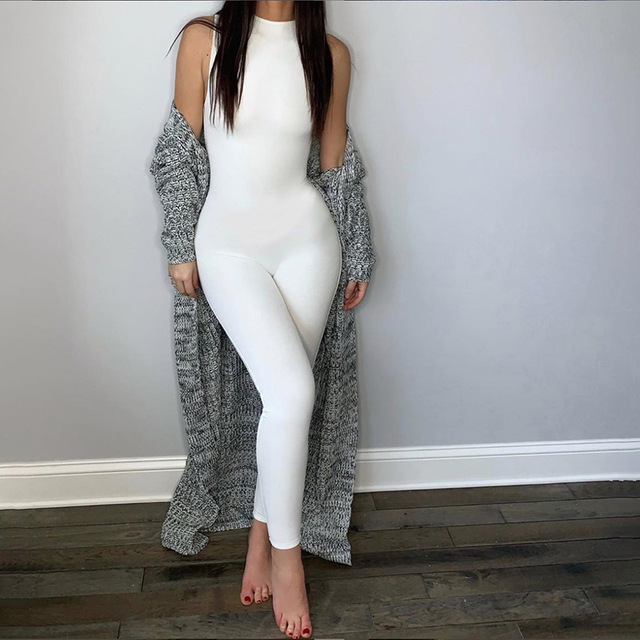 Echoine Sleeveless Jumpsuit Skinny Sport Bodycon Jumpsuit Sexy Bodycon Bodysuit Rompers Party Club Outfits Overalls 2020 New 4