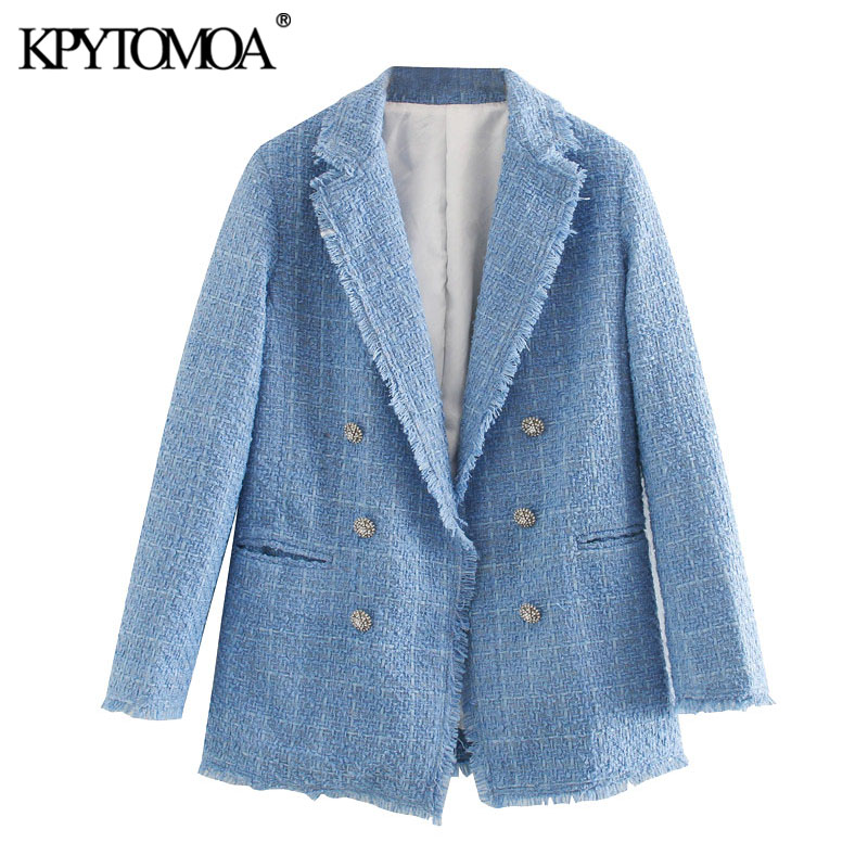 KPYTOMOA Women 2020 Fashion Office Wear Double Breasted Tweed Blazer Coat Vintage Long Sleeve Frayed Female Outerwear Chic Tops
