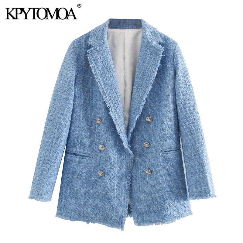 KPYTOMOA Women 2020 Fashion Office Wear Double Breasted Tweed Blazer Coat Vintage Long Sleeve Frayed Female Outerwear Chic Tops