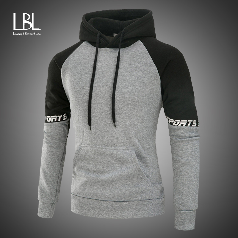 Sweatshirts Men Autumn Long Sleeve Patchwork Hoodies Hooded Sweatshirt Top Tee Outwear Blouse Sudadera Hombre Moletom Masculino