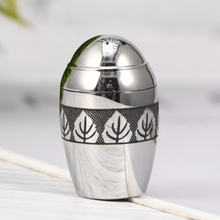 Urn-Jar Stainless-Steel Cinerary Silver Pet with Opening Screw-Lids Leaves