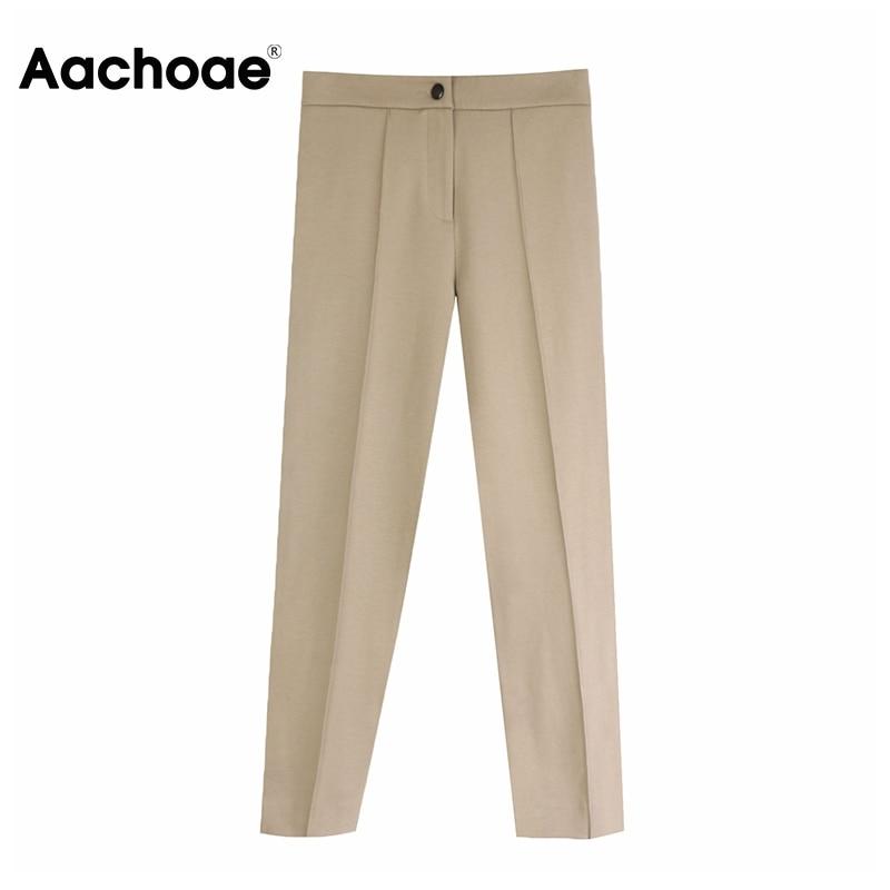 Aachoae Women Solid Elegant Pants Leggings Pleated Side Leg Split Pencil Pants Lady Zipper Fly Casual Skinny Trousers Pantalon 3