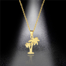Coconut Tree Necklace Tide Girl Stainless Steel Hollow Pendant Small Fresh Factory Direct