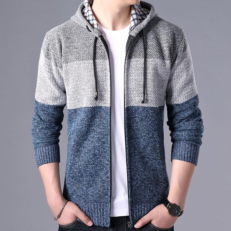 2020 Thick Cardigan Mens Sweater Zipper Striped Hooded Colorblocking Fashion Warm Slim Knitted Sweater Male Fleece Hoodies Coats 5